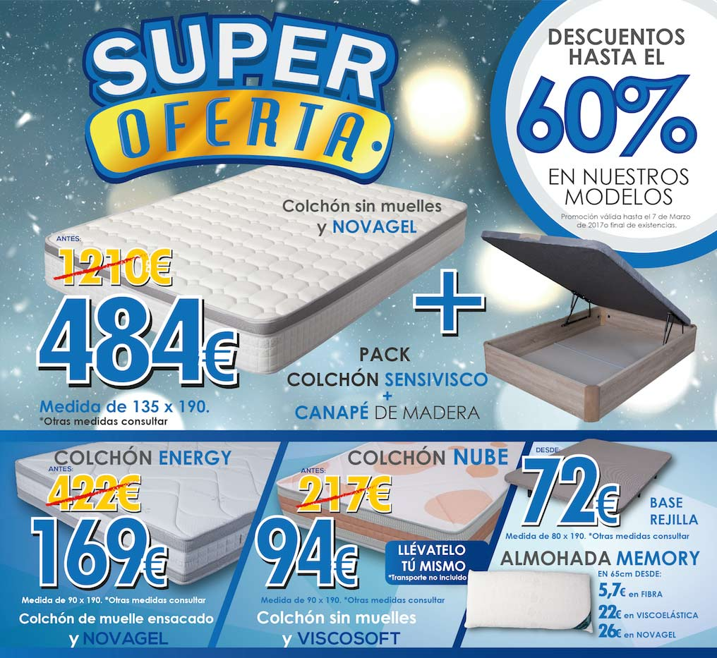Super Oferta de hasta 60% de descuento en Colchones y otros productos